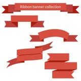 Sammlung rote Retro- Bandfahnen lizenzfreie abbildung