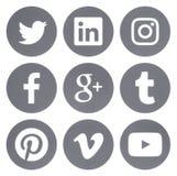 Sammlung runde populäre Social Media-Graulogos stock abbildung