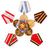 Sammlung russische (sowjetische) Medaillen Lizenzfreie Stockfotos