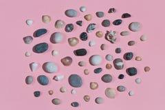 Sammlung schöne Steine und Muscheln stockfoto