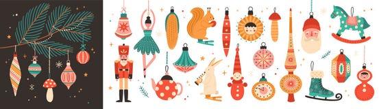 Sammlung schöner Flitter und Dekorationen für Weihnachtsbaum Stellen Sie von den Feiertagsverzierungen ein Zahlen von Tieren, San stock abbildung