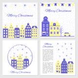 Sammlung Schablonen für Weihnachts- und des neuen Jahresgruß Karte, Vektorillustrations-, Blaue und weißefarbe, Design für Stockbilder