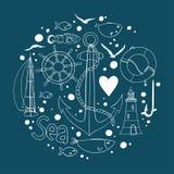 Sammlung Seeelemente in einer Kreisform stock abbildung