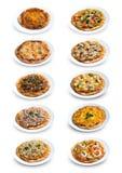 Sammlung selbst gemachte Pizza Lizenzfreies Stockfoto