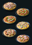 Sammlung selbst gemachte Pizza Lizenzfreie Stockfotos