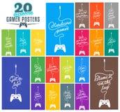 Sammlung Spiel-in Verbindung stehender Poster Lizenzfreies Stockfoto