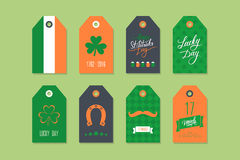 Sammlung St Patrick Tagesgeschenktags Satz St Patrick Tagesfeiertagsaufkleber Feiertagsausweisdesign Lizenzfreies Stockbild