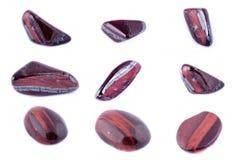 Sammlung Stein- Mineral-Stier-` s Augen-roten Tiger ` s Auges Lizenzfreie Stockbilder