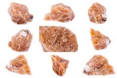 Sammlung Steingelber Mineralcalcit Lizenzfreie Stockbilder