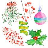 Sammlung (stellen Sie) ein, mit Aquarell Blumenweihnachtselementen der Dekoration Lizenzfreie Stockfotografie