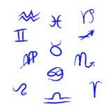 Sammlung Sternzeichen, Hand gezeichnet mit Tintenbürste Stockfotos