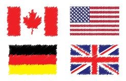 Sammlung stilisierte Flaggenflaggen Stockbild