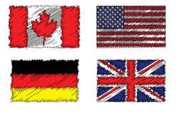 Sammlung stilisierte Flaggenflaggen Lizenzfreies Stockfoto