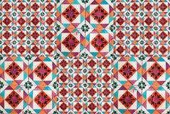Sammlung Türkis und orange Musterfliesen stockfotos
