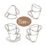 Sammlung Teeschalen in der Weinleseart Stockfotografie