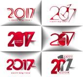Sammlung Text-Design des guten Rutsch ins Neue Jahr-2017 Lizenzfreie Stockfotos