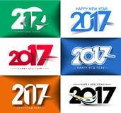 Sammlung Text-Design des guten Rutsch ins Neue Jahr-2017 Lizenzfreies Stockbild