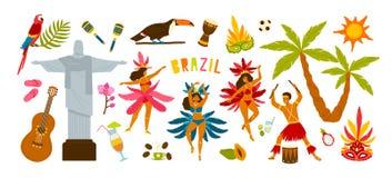 Sammlung traditionelle Attribute des brasilianischen Karnevals - weibliche Tänzertanzensamba, Musiker, der auf Trommeln spielt stock abbildung