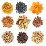 Sammlung Trockenfrüchte und Nüsse Lizenzfreie Stockbilder