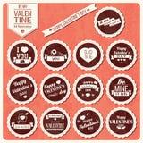 Sammlung Valentinstagweinleseaufkleber, typografisches Design Stockfoto
