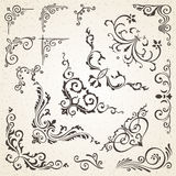Sammlung Vektorecken Gestaltungselementen der Weinleseart und in den dekorativen des Buches oder der Einladung des Victorian Lizenzfreie Stockfotografie