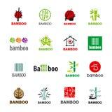 Sammlung Vektorlogos Bambus Lizenzfreie Stockfotos