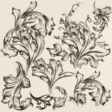 Sammlung Vektorweinlese-Strudelverzierungen für Design Lizenzfreies Stockbild