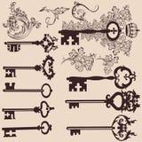 Sammlung Vektorweinleseschlüssel für Entwurf Stockfotografie