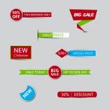 Sammlung Verkaufsfahnen und Rabattfahnen Lizenzfreie Stockfotos