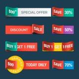 Sammlung Verkaufsrabatt-Websitebänder Stockfotografie