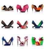 Sammlung - verschiedene Arten von weiblichen Schuhen Lizenzfreies Stockbild