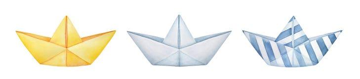 Sammlung verschiedene gefaltete Papierboote Gelbes, klassisches weißes und gestreiftes Blau des freien Raumes vektor abbildung