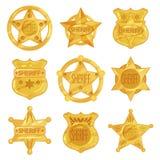 Sammlung verschiedene goldene Ausweise des Sheriffs s im modernen flachen Design Polizeiembleme in den Stern- und Kreisformen Stockfotografie