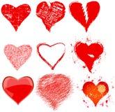 Sammlung verschiedene grungy Herzen und Liebessymbole, Vektor Lizenzfreie Stockfotografie