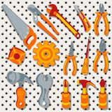 Sammlung verschiedene Werkzeuge über Metallhintergrund, 3 stockbilder