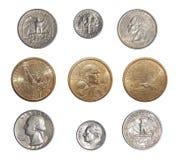 Sammlung verteilende Münzen der USA ändern Münzen von Amerika Lizenzfreie Stockfotografie