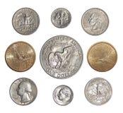 Sammlung verteilende Münzen der USA ändern Münzen von Amerika Stockbilder