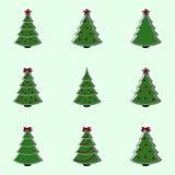 Sammlung verzierte Weihnachtsbäume Flache Artillustration Stockfotos