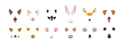 Sammlung Videochatanwendungseffekte Bündel nette und lustige Gesichter oder Masken von verschiedenen Tieren - Hund, Katze, Fuchs lizenzfreie abbildung