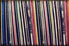 Sammlung Vinylaufzeichnungsabdeckungen (blinde Titel) Stockbild