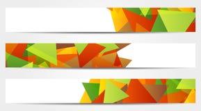 Sammlung von 3 abstrakten bunten Fahnen Stockbild