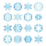 Sammlung von 16 blauen Schneeflocken auf weißem backgrou Stockbilder