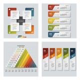 Sammlung von 4 bunten Darstellungsschablonen des Designs Es kann für Leistung der Planungsarbeit notwendig sein Lizenzfreie Stockfotos