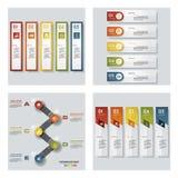 Sammlung von 4 bunten Darstellungsschablonen des Designs Es kann für Leistung der Planungsarbeit notwendig sein Lizenzfreie Stockfotografie