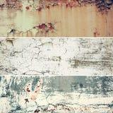 Sammlung von drei horizontalen Bildern mit rostiger alter Beschaffenheit des Weinleseschmutzes Metall, abstrakter Hintergrund stockfotos