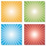Sammlung von 4 Farbexplosionshintergründen Vektor Lizenzfreie Stockbilder