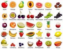 Sammlung von 35 Fruchtikonen Stockbilder