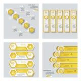 Sammlung von 4 gelbem Farbschablonen-/-graphik- oder -websiteplan Es kann für Leistung der Planungsarbeit notwendig sein Lizenzfreies Stockfoto