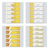 Sammlung von 4 gelbem Farbschablonen-/-graphik- oder -websiteplan Es kann für Leistung der Planungsarbeit notwendig sein Lizenzfreie Stockfotos