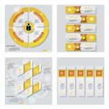 Sammlung von 4 gelbem Farbschablonen-/-graphik- oder -websiteplan Es kann für Leistung der Planungsarbeit notwendig sein Lizenzfreies Stockbild